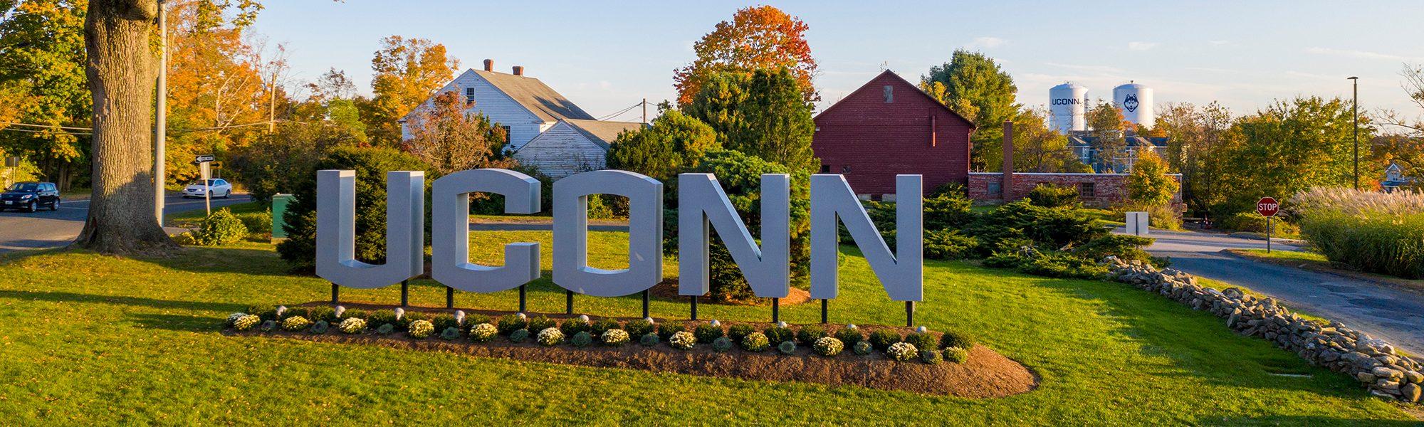 UConn entry sign at UConn Storrs CT